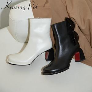 Pot Krazing 2020 mode cuir véritable zipper chaussures chaud couture talon carré bout rond d'hiver discothèque bottines élégantes L16