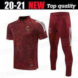 Kit adulte 2020 2021 Real Madrid Brown Polo Training Wear Soccer Jersey Hazard Sergio Ramos Benzema Vinicius Camiseta Shirts Football