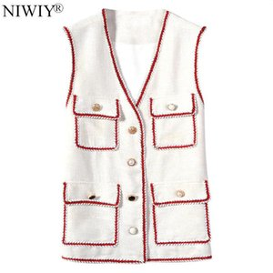 Socialite Button Decoration Autumn Sleeveless Vest Tapados Mujer Invierno 2020 Vests of Women Jacket Chamarras De Mujer N9563