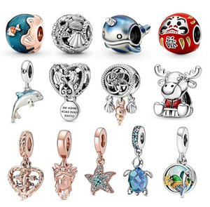 2020 New 925 Sterling Silver Jewelry Summer new ocean series dolphin turtle Charm Beads Fits Pandora Bracelets Necklace For Women DIY Making