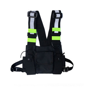 M7hv Men Street Tactical Chest Rig Bag Hip Hop SkateboardChest Bag for Style Functional Waist Packs Adjustable Waistcoat