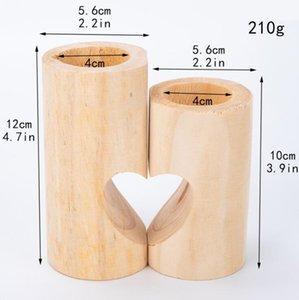 الشاي الخشبي ضوء شمعة حامل الإبداعي القلب مجوفة شمعدان الرومانسية الجدول للمنزل عيد ميلاد حفل زفاف الديكور EWF2570