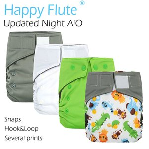 Happy Flute OS Updated Night AIO cloth diaper with sewn insert,charcoal bamboo inner,S M L adjustable,high absorbent non bulky 201020