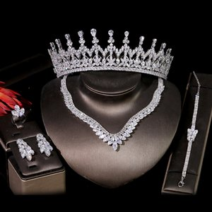 7 styles luxury Fashion Bride Wedding Crown Crystal Headdress Necklace Earrings Bracelet Ring Bridal Wedding Jewelry Set