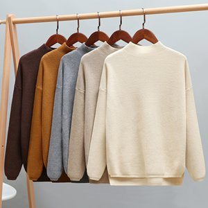 GIGOGOU Autumn Winter Oversized Turtleneck Women Sweater High Low Lem Loose Knitted Pullovers Tops Pull Femme Soft Jumper Jersey 200929