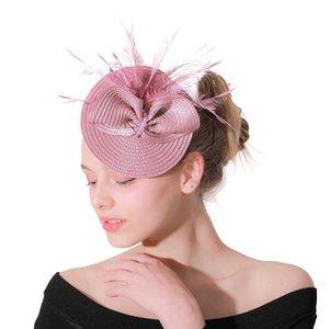 Fascinatoren Hut Frauen Blume Mesh Bänder Federn Fedoras Hut Stirnband oder ein Clip Cocktail Tee Party Kopf Wear für Mädchen LM029 H Jllbab