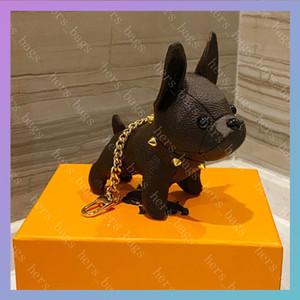 Llavero de cuero Mujeres Lujos Llaveros Mens Designers Llavero Moda Coche Lindo Bulldog Francés Marcas Cadenas 5 Color con caja 2021