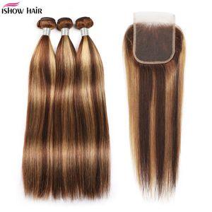 Hishow Highlights 4/27 Человеческие пакеты волос с закрытием прямых волос наращивания волос 3 / 4шт с кружевной закрытием цветной омбре