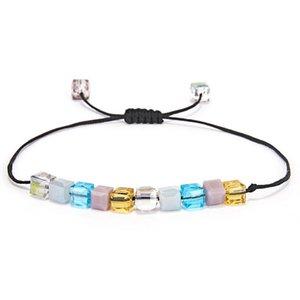 RINHOO New 4 milímetros Pastel Contas de Cristal ajustável Rope Pulseira por Mulheres coloridas jóias contas charme boêmio Handmade Bracelet