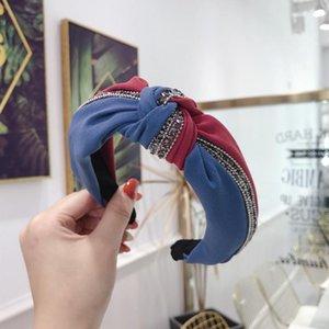Блестки оголовье Лоскутная Оранжевый Hairbands женщин Цвет Блок волос обруч аксессуары Bowknot Cross Tie Wide Side Headwear