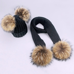 Children's double wool hat scarf men's and women's thickened raccoon dog hair ball knitted ear cap suit