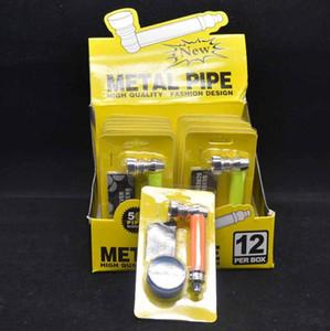 Sigara Metal Boru Set Plastik Öğütücü Ile Pirinç Ekran Örgü Ekran Kutusu Tütün El Sigara Filtresi Borular Araçları