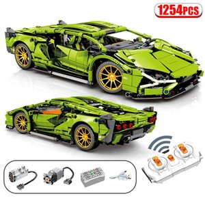 1254Pcs City Technic Series RC Super Sports Car Remote Control Racing Vehicle Building Blocks Racer Bricks Toys ForGQ1