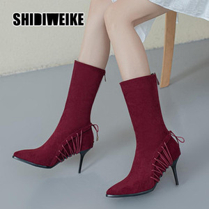 Women's Pointed Toe Mid-Calf Boots Women High-Heeled Boots Winter 2020 New Suede All-match Back zipper v790