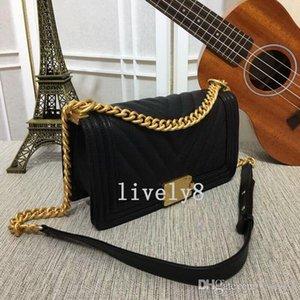 Горячих продажи Нового CC Стиль Высокого качество Caviar Большого V 25см мода случайное WOMENS сумочек сумка плечо тотализаторы цепи сумка Le Boy закрылки Gold