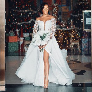 African Long Sleeves Wedding Dresses Detachable Train Lace Appliqued Bead Plus Size Wedding Gowns High Split Vestidos De Novia