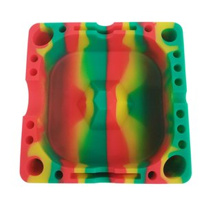 Silicone Dabs Ashtray With Poker Holes Slot 5 Inch Unbreakable Dry Herb Cigarette Cigar Indoor Ashtrays