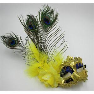 Italiano Ottimizzata Lace di Halloween maschere veneziano piuma del pavone Masquerade Mask Jia348