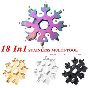 18 em 1 aço inoxidável multi-ferramenta floco de neve multitool hexágono chave chave de fenda de garrafa abridor chave chaveiro anel exterior sobrevivente campo e102902