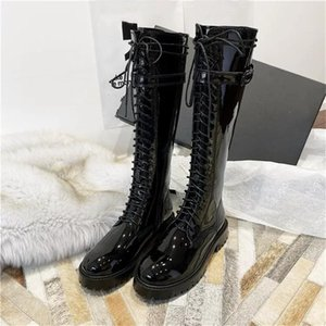 Round Toe Strap High-top Increase Boots Cross Strap With Buckle Fashion Casual Shoes Patent leather Smooth Surface Women Shoes