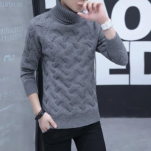 Winter Full Thick Sweater Pullover Men Simple Mens New Turtleneck Knitted Rough Flower Pullovers Preppy Style Grey Sweaters