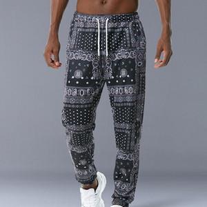 Hip hop allentato misura elastici in vita pantaloni stampati tascatrice laterale caviglia da uomo casual drewstring sportswear joggers