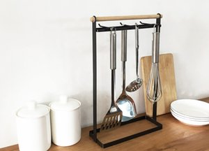 Kitchen tray table shelf room rack 6 hook with a scoop of water pot shovel kitchen asphalt storage rack