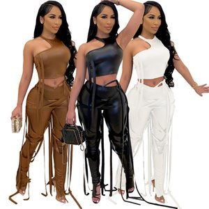 Rock Style Bandage Womens Suit Sexy Halter Hollow Out Crop Tops And PU Leather Pants Set Nightclub 2 Pcs Set Women