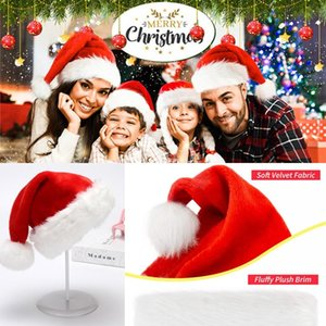 DHL Christmas Santa Claus Hats Red And White Cap Party Hats For Santa Claus Costume Christmas Decoration For Kids Adult Christmas Hat FY6187