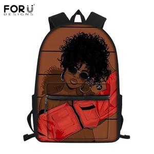FORUDESIGNS Холст Дети ранцы Afro Девочка печати Школьные рюкзаки Браун красоты принцессы ранцы Bookbags для Юниоров
