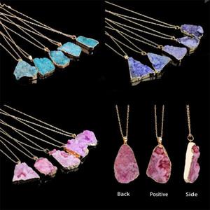 Değil cilalı Kaba kolye kolye Kristal Takı Doğal Taş Kolyeler Erkek Kadın Moda Zincirler Retro Mizaç 6 5af F2