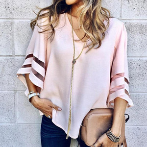 Gentillove 2020 Mulheres V Neck Flared mangas Blusa Feminino camisa casual solta malha dos retalhos camisas Plus Size Tops blusas Femme