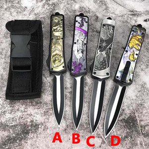 Micro 3D totem automatic knife D2 blade outdoor camping hunting survival knife ut85 BM 3300 3400 combat troo self defense auto pocket knife