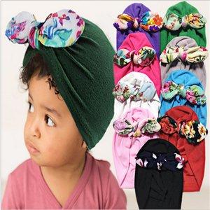 Niño recién nacido Bebé Bowknot Hats Big Arques Cabachas de la envoltura cabeza Floral Diadema Infantil Headwrap Gorros Elástico Cabello Accesorios para el cabello G10507