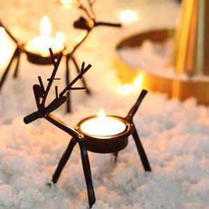 Holder Creative Elk Bracket Candle Deer Candlestick Iron Christmas Dinner Table Room Ornament For Xmas Home Decor 13.5x5x13.5cm