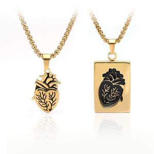 Puzzle gioielli paio Maxi Collane anatomico di cuore ciondolo San Valentino regalo delle donne in acciaio inox Bijoux Femme Lovers Collares