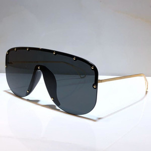 Nova moda 0667s óculos de sol conectados lente tamanho grande metade quadro com pequenos rebites 0667 máscara óculos de sol populares ao ar livre qualidade superior com caixa
