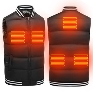 2020 Winter Smart Heating Vest Male Thermostatic Solid Color Stand-up Collar Waistcoat USB Charging Vest Plus Velvet Jacket