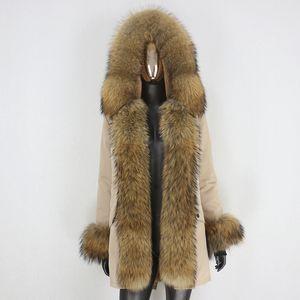 BLUENESSFAIR 2020 Waterproof Parka Real Fur Coat Winter Jacket Women Natural Big Raccoon Fur Collar Hood Thick Warm Outerwear