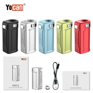 100% Original Yocan UNI S Box Mod 400mAh Preheat VV Variable Voltage Battery With Magnetic 510 Adapter For All Types Thick Oil Cartridge