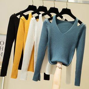 Croysier Pulls Vêtements d'hiver Femme col V à épaules Pull à manches longues Slit côtelée pull en tricot Haut 201017