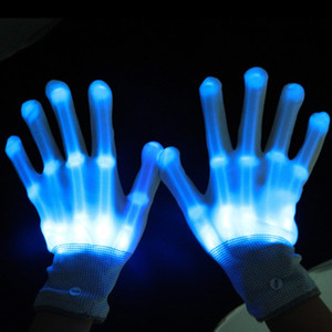 LED Light Gloves Neon Glowing Guantes for Christmas New Year Dance Party Props Luminous Flashing Skull Gloves Stage Costume