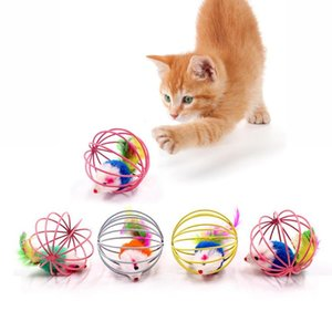 Cat Interactive Toy GRACK Ball Simulated Mouse Mouse Mouse Gage Cage Plastica Artificiale Colorful Colorful Kitten Teaser Pet Animale Forniture