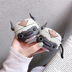 AirPods Caso 3D bonito da vaca preta dos desenhos animados Capa para Airpods 1 2 Bluetooth sem fio fone de ouvido de carregamento Caso Box Para AIRPod Pro