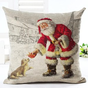 GZTZMY 45X45cm 2020New Year Decor Merry Christmas Decorations for Home Pillowcase Santa Claus Reindeer Linen Cover Cushion Natal