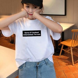 Sorry If I Look Interested Im Not Quotes Funny Tee Women Tumblr Grunge Fashion White Tee Summer Street Style Wear FH90