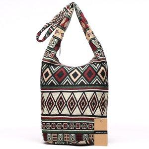 Annmouler Nouveau Sac bandoulière femme tissé Messenger Sac en tissu aztèque Hippie Capacité Bohême Hobo Femme Crossbody