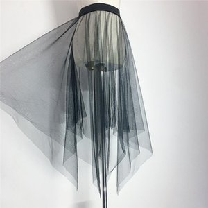 Tulle Women Summer Black Perspective Mesh Skirt Sexy Party Transparent Single Layer Transparent Asymmetry Bottom Long Skirts
