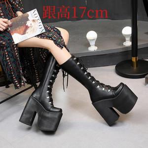 Custom large yards outside single high-barrel women's boots 17cm new nightclub DJ hate sky high stage catwalk heels women shoes