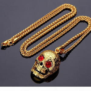 K Men &#039 ;S Hip Hop Fashion Necklace 18k Gold Plated Cz Crystal Skull Head Pendant Necklace 30inch Wheat Chain Necklace Jewelry